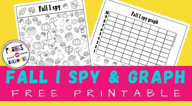 Fall I spy worksheets on yellow background with pink text overlay