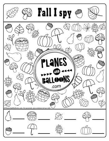I spy printables with fall pictures of leaves, mushrooms, pumpkins and more