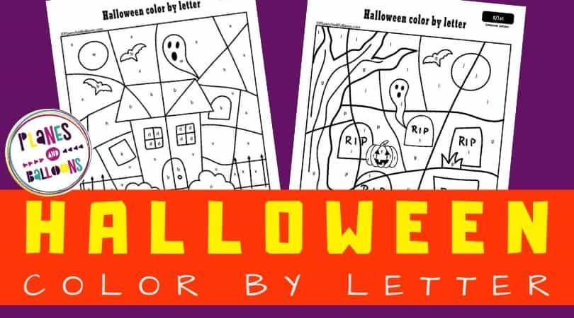 Halloween color by letter worksheets on purple background with orange text overlay