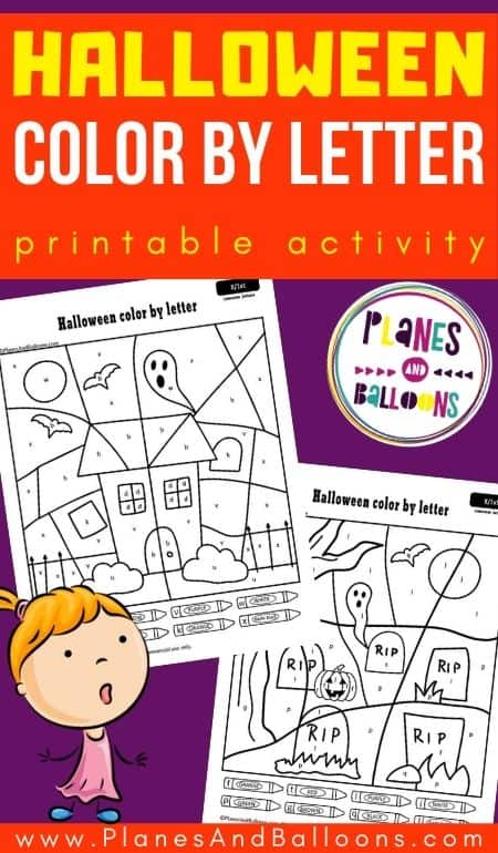 Purple and orange graphic with two Halloween color by letter worksheets with a text overlay