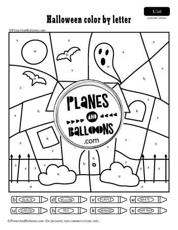 Halloween color by lowercase letter worksheets
