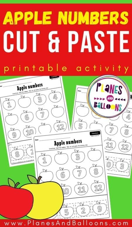 "Apple number worksheets on a green background with an orange text overlay: ""Apple numbers cut and paste printable activity."""