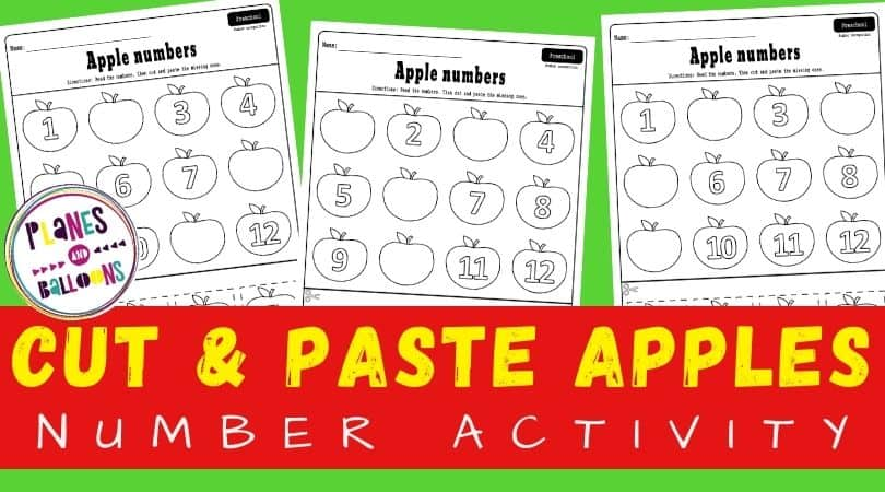 Apple number 1-12 worksheets on green background with a text overlay - Cut and paste apples number activity. Free printable worksheets for apple theme in preschool.