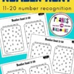 Free printable number recognition worksheets for kindergarten for numbers 11-20 - three worksheets on blue background with a yellow text overlay