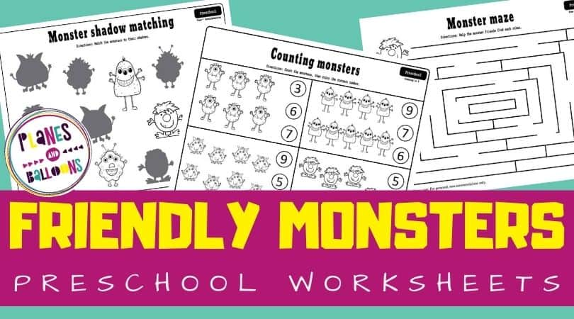 Monster worksheets for preschoolers on blue background with purple text overlay