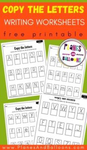Copy the letters worksheets - four handwriting worksheets on green background with orange text overlay